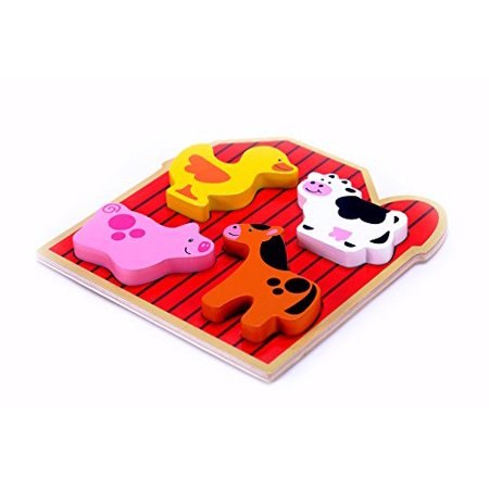Cute Farm Animal Puzzle for Toddlers, Preschool Age - Wooden Easy to Hold Chunky Pieces, - Halloween Puzzles For Middle School
