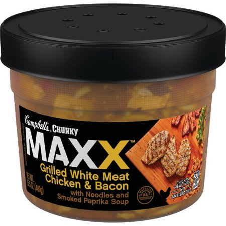 (3 Pack) Campbell's Chunky Maxx Grilled White Meat Chicken and Bacon with Noodles and Smoked Paprika Soup, 15.5 oz.