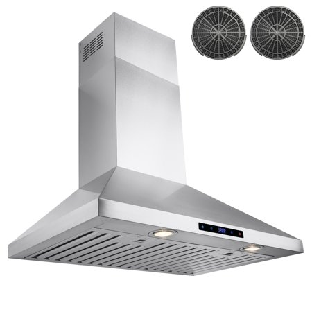 "AKDY 30"" Stainless Steel Wall Mount Range Hood with Touch Screen Display Halogen Bulb and Carbon Filters"