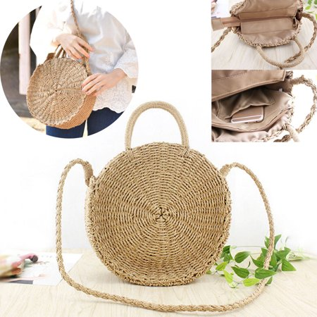 Beautiful Straw Bags (Women Straw Retro Bag Handwoven Round Rattan Handbags Summer Beach Knitted Crossbody Bag Beige )