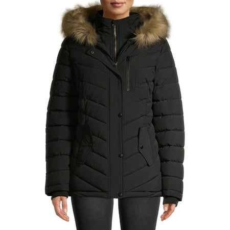 Swiss Tech Women's Bibbed Solarball Puffer Coat with Faux Fur Trimmed Hood