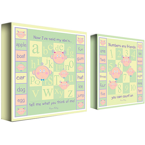 "Trademark Art ""ABCs and 123s"" Canvas Art by Grace Riley, 2-Piece Panel Set, 14x14"