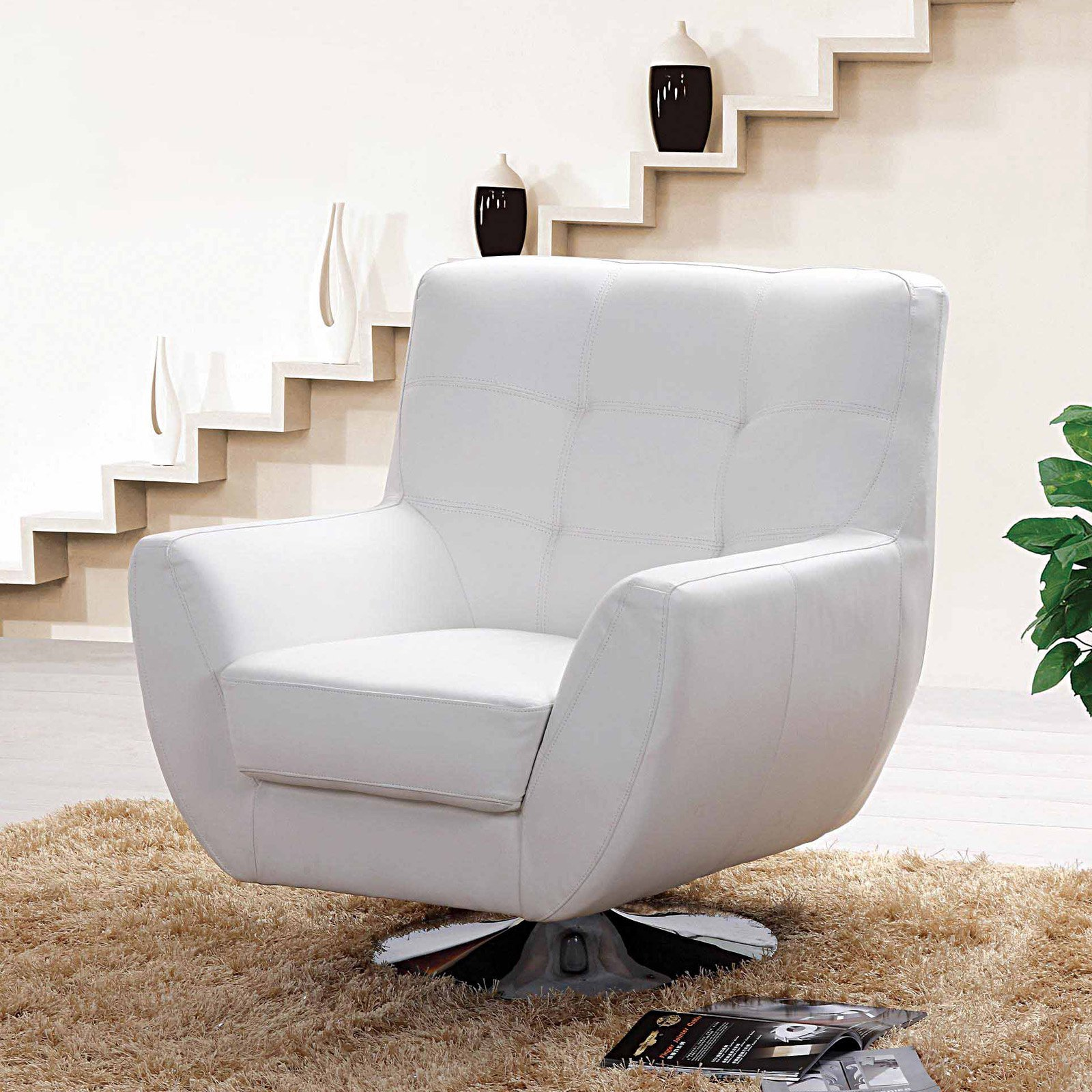 Creative Images Astoria Leather Match Swivel Sofa Chair   Walmart.com