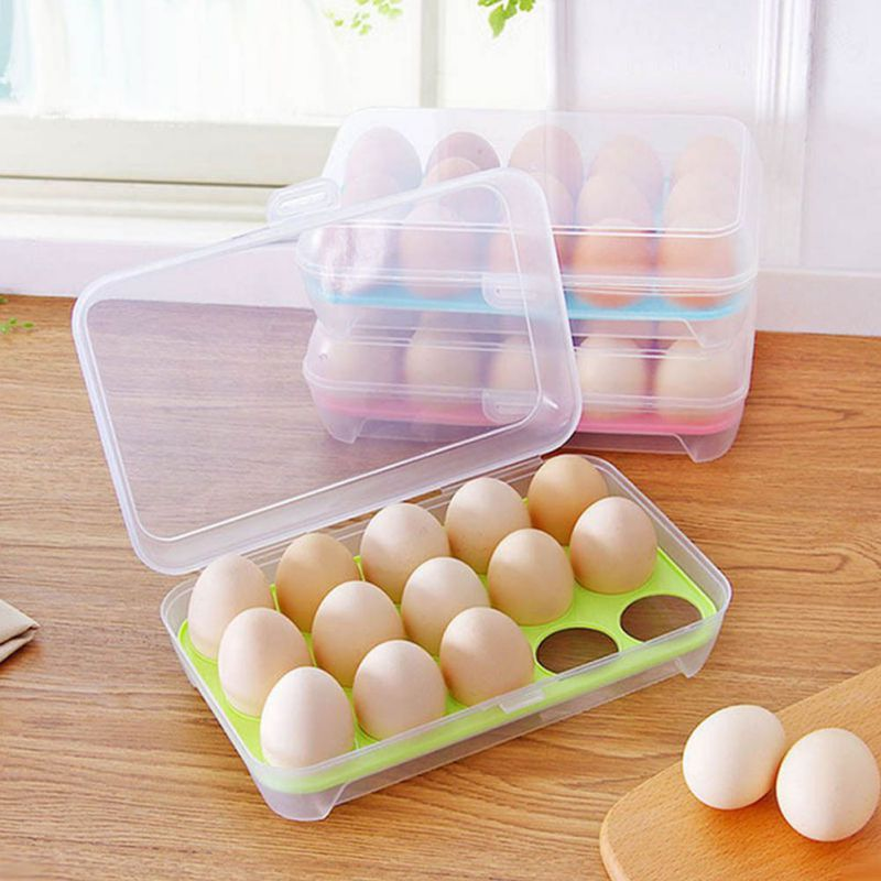 MUXUAN Refrigerator Practical Eggs Storage Box For 15 Plastic Eggs Case Container