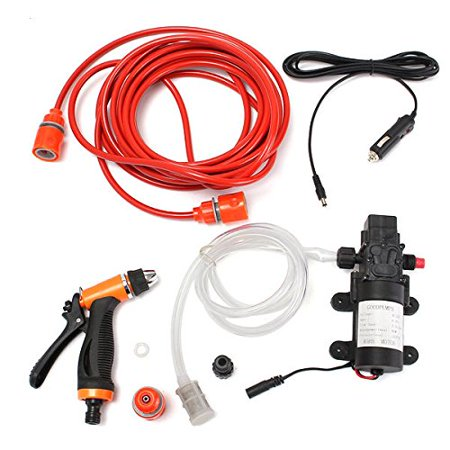 12V 80W Portable Car Washer Device Electric Powerful MAX 130 PSI Water Pump High Pressure Wash Gun with Car Charger Ideal for Auto, Marine, Pet, Window, Gardening and Camping ()