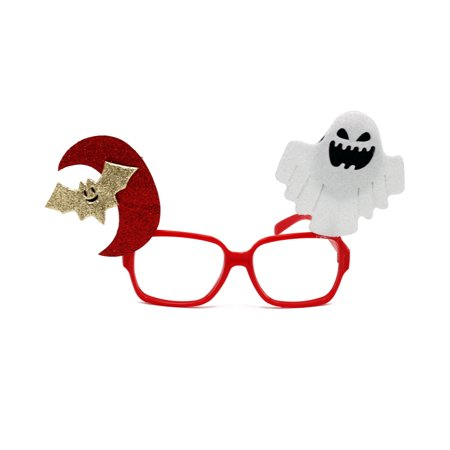 Halloween Trick Toy Male Female Funny Glasses for April Fool's Day Party Prank Props (Red Moon Bat White Spirit)