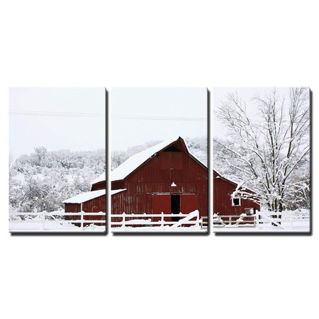 wall26 - 3 Piece Canvas Wall Art - Big Red Barn in The Snow - Modern Home Decor Stretched and Framed Ready to Hang - 24