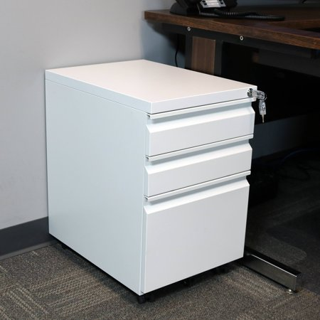 CASL Brands Rolling Mobile File Cabinet Pedestal with Keyed Lock, Small Steel 3-Drawer Filing Storage System,