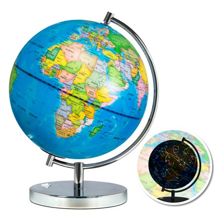 Best Choice Products Kids 2-in-1 Light-Up World Geographical Globe Educational Toy w/ Day and Night Constellation View, Stainless Steel (Diez Globe)
