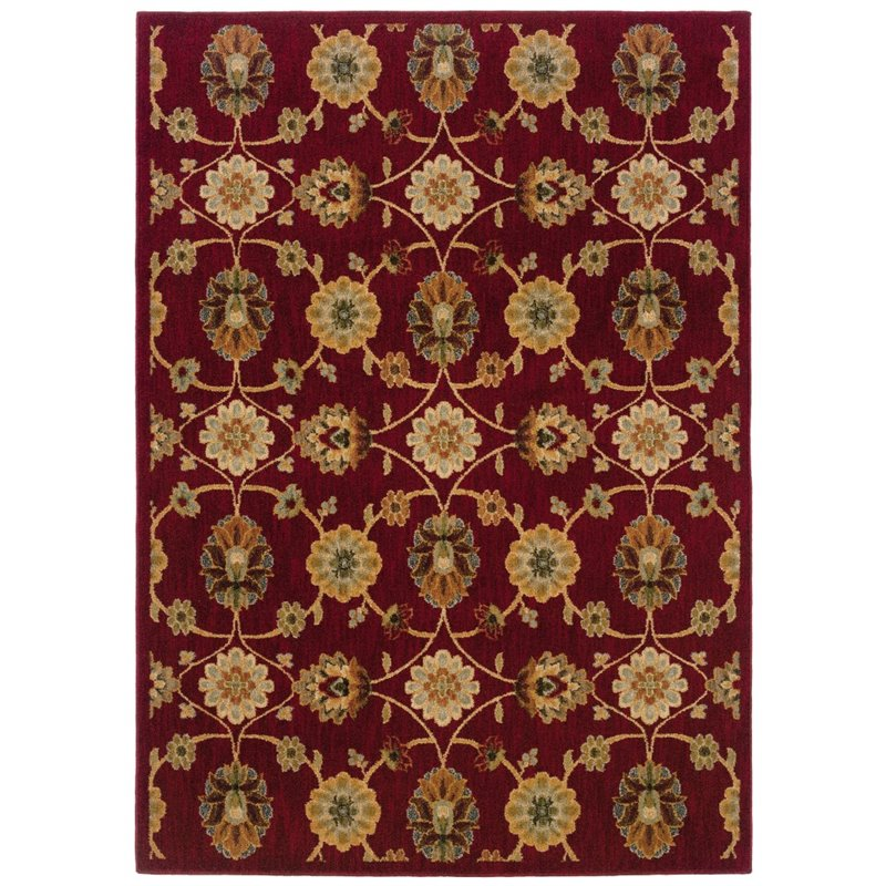 Sphinx Infinity Area Rugs - 2166B Transitional Casual Red Vines Leaves Flowers Scrolls Rug