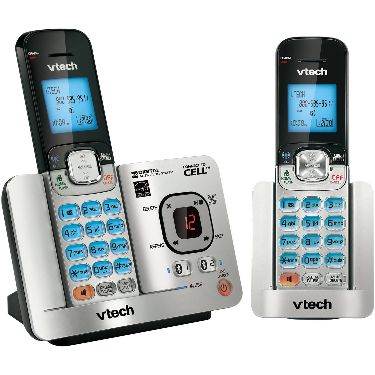 VTech DS6521-2 DECT 6.0 Cordless Phone System with Connect to Cell and 2 Handsets