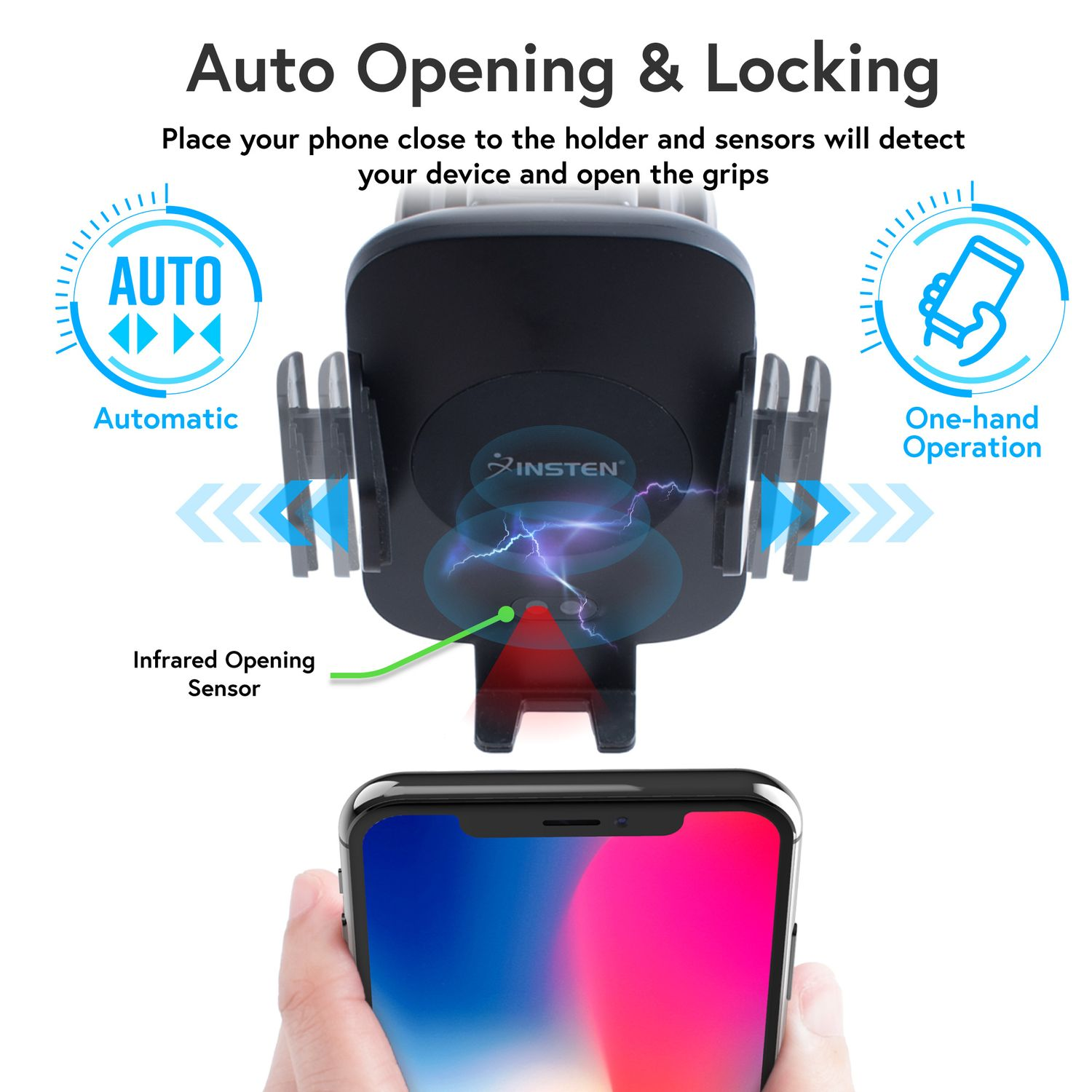 Wireless Charger Mount by Insten Motion Sensor Automatic Dashboard Window Suction & Air Vent Phone Holder Wireless Charging Pad Car Mount for iPhone X 8 Plus Samsung S9 S9+ (Free QC 3.0 Car Charger) - image 4 of 5