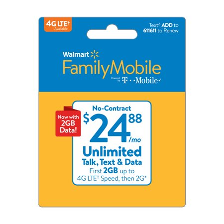 Walmart Family Mobile $24.88 Unlimited Monthly Plan (with up to 2GB at high speed, then 2G*) w Mobile Hotspot Capable (Email
