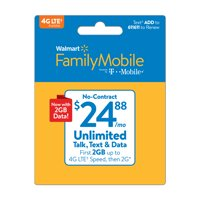 Walmart Family Mobile $24.88 Unlimited Monthly Plan (with up to 2GB at high speed, then 2G*) w Mobile Hotspot Capable (Email Delivery)