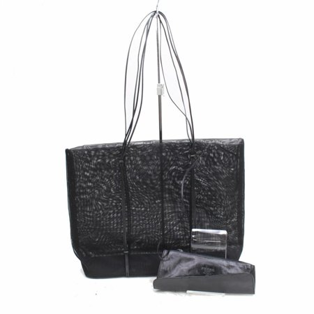 Prada Rare Vintage See Through Mesh Tote with Pouch 868785 Black Nylon Shoulder Bag