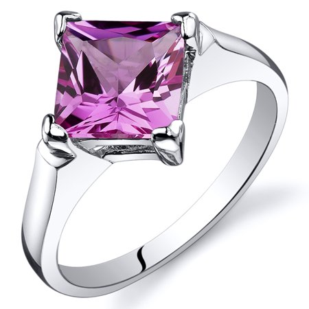 2.25 Ct Created Pink Sapphire Engagement Ring in Rhodium-Plated Sterling Silver (Sapphire Rhodium Plated)