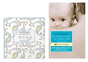 SwaddleDesigns Ultimate Receiving Blanket with Dr. Spock's Baby & Child Care Guide, Triplets Paisley   Pastel... by SwaddleDesigns