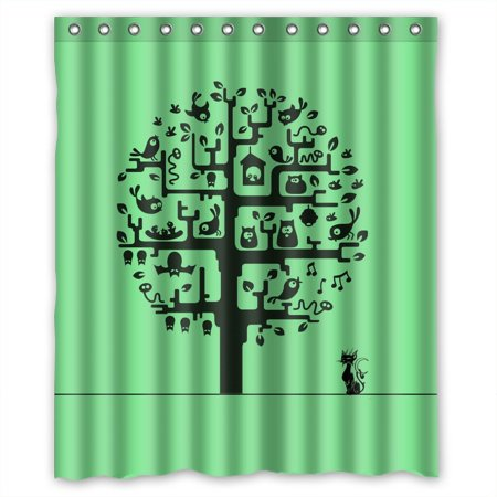 Ganma Unique Tree Desigh Birds Bat Cat Pattern Green Shower Curtain Polyester Fabric Bathroom 60x72 Inches