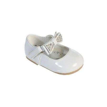White Leather Rhinestone - Little Girls White Rhinestone Bow Patent Leather Mary Jane Shoes