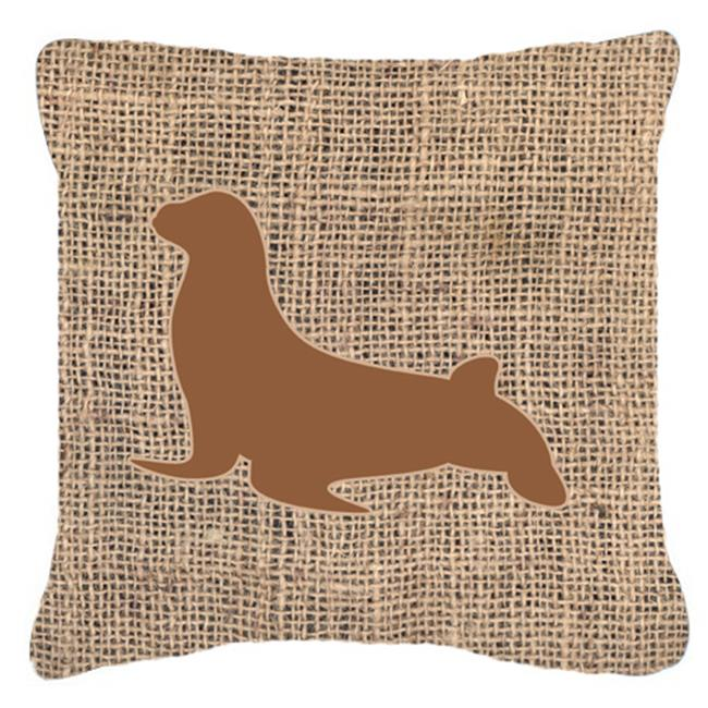 Carolines Treasures BB1027-BL-BN-PW1818 18 x 18 in. Seal Burlap And Brown Indoor & Outdoor Fabric Decorative Pillow - image 1 de 1