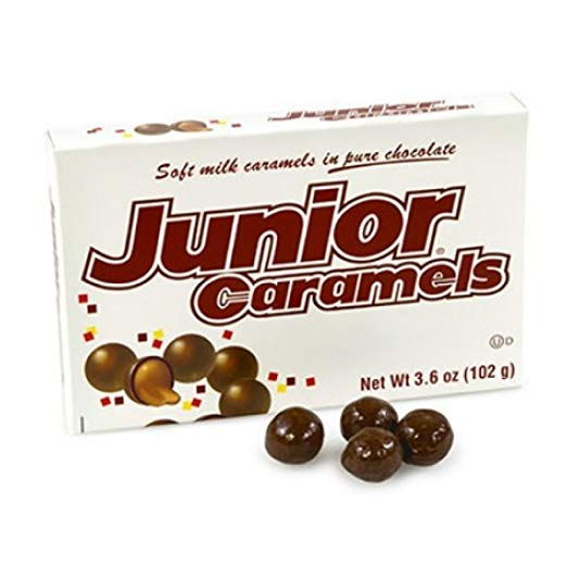 Junior Caramels Chocolate Candy 3.5oz Theater Size Box