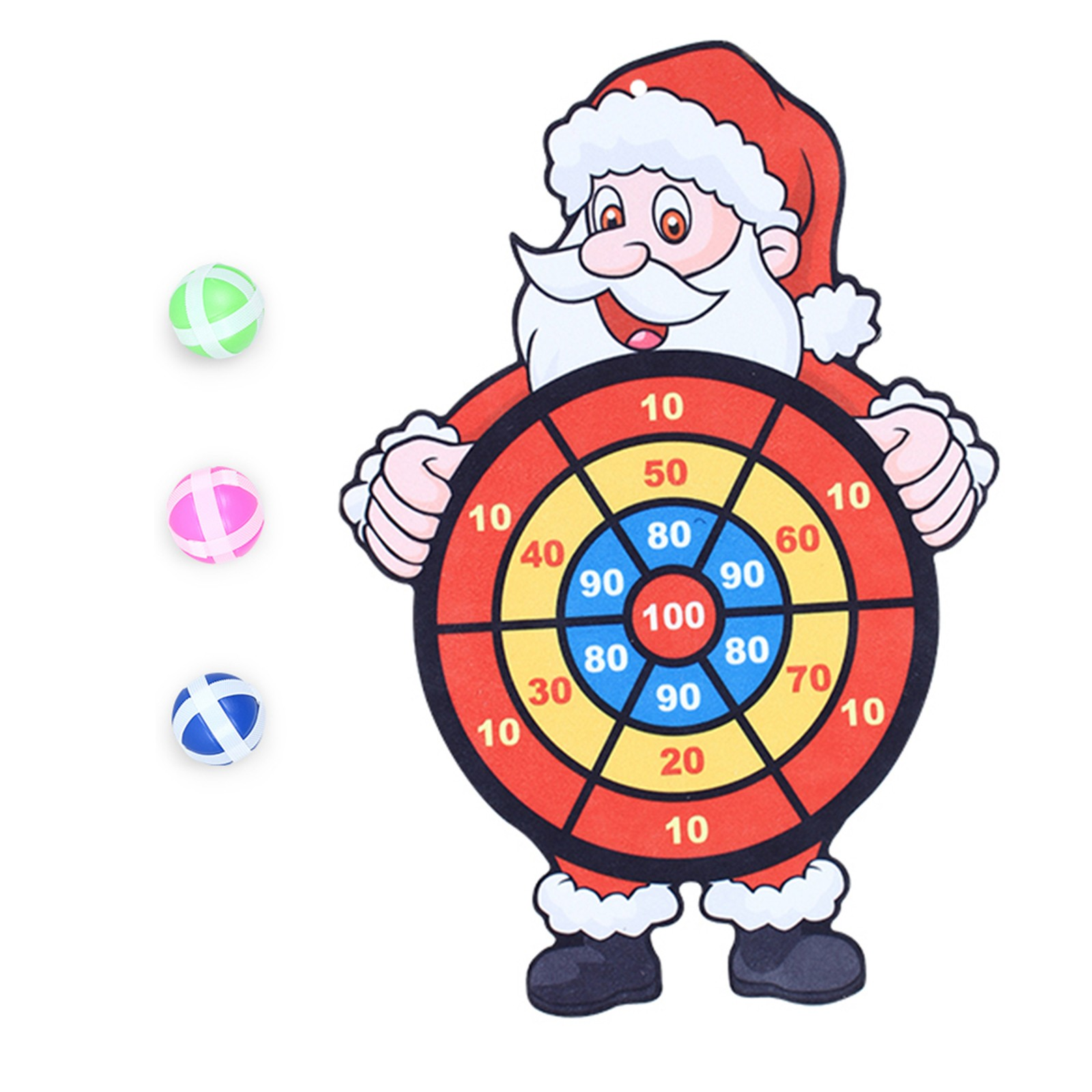 Christmas Santa Wall-Mounted Kid Sticky Flying Ball Board Dart New Target S1Y4