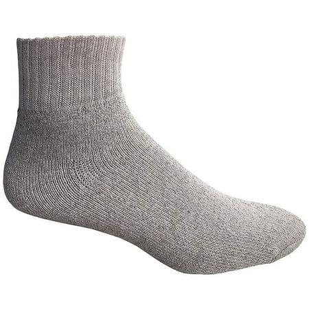 Mens Wholesale Cotton Quarter Ankle Socks - Gray Sport Ankle Socks For Men - 10-13 - 12 Pack