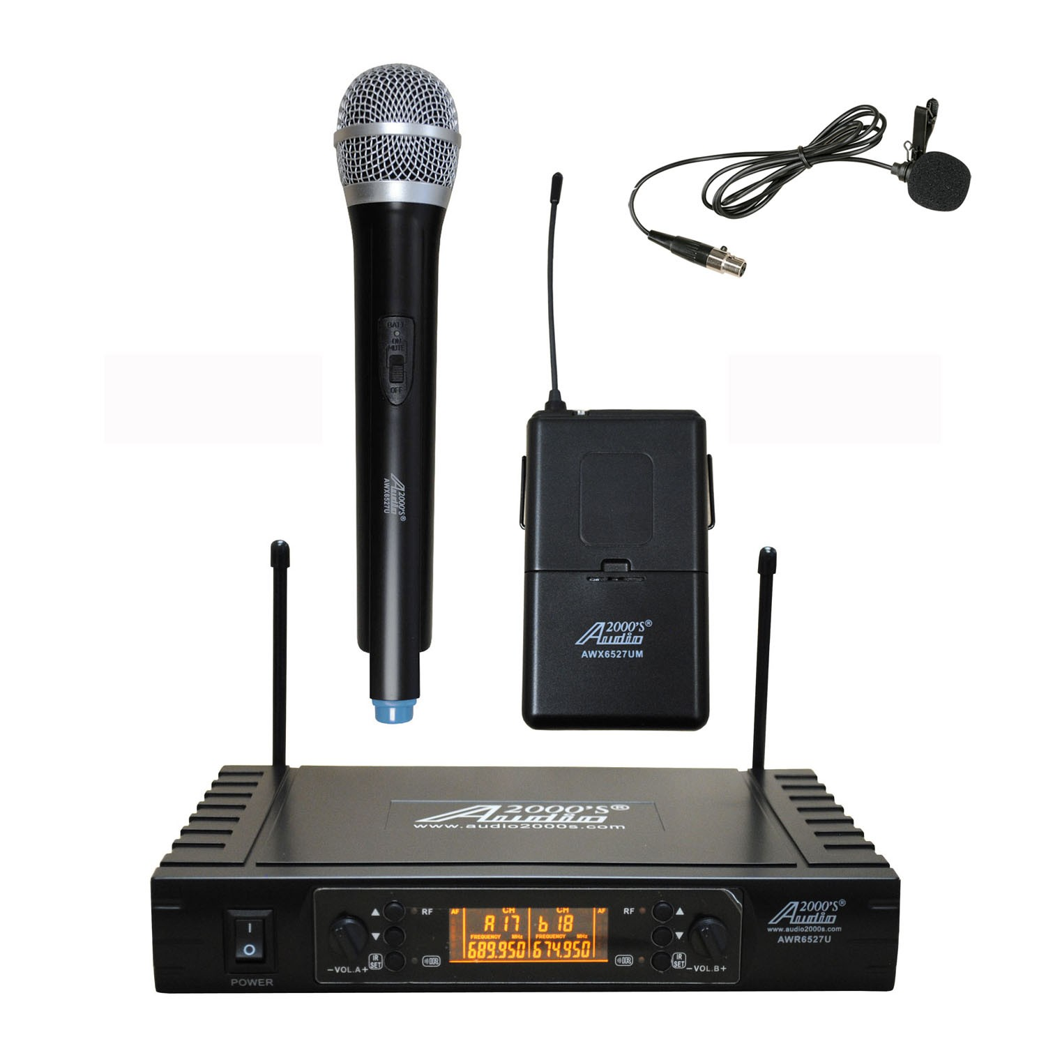 Audio2000s AWM6527UL UHF Wireless Handheld and Lapel Combo Microphone System with 100 Selectable Frequency