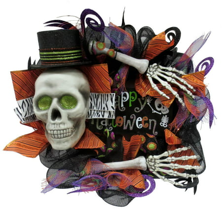 Way to Celebrate Multicolor Skeleton Mesh Halloween Wreath, 16