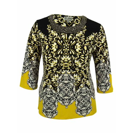 Keyhole Beaded Halter Top - JM Collection Women's 3/4 Sleeve Beaded Keyhole Tunic Top (PXL, Gold Filagree)