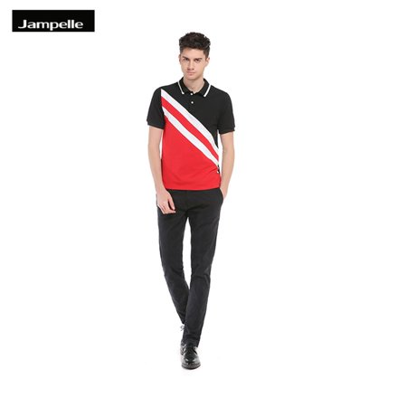 Jampelle B67 Men Polo Shirt Oblique Stripe Stitching Printed Cotton Short Sleeve Casual Stand Collar Mens Shirts Polo Shirts