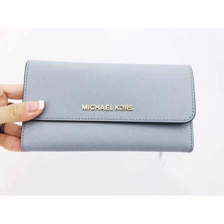 c6dac5d8c3d1 Michael Kors Jet Set Travel Large Trifold Wallet Pale Blue Saffiano -  Walmart.com