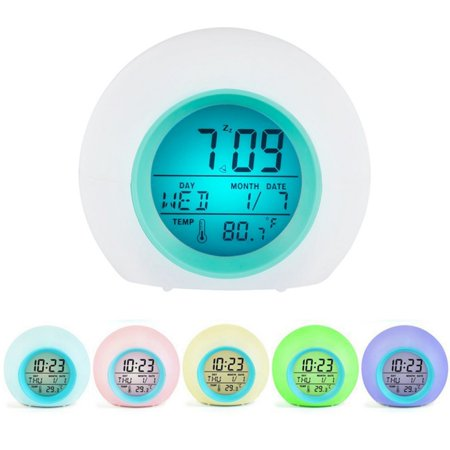 Children LED Change Color Digital Alarm Clock Time Thermometer Home Decor