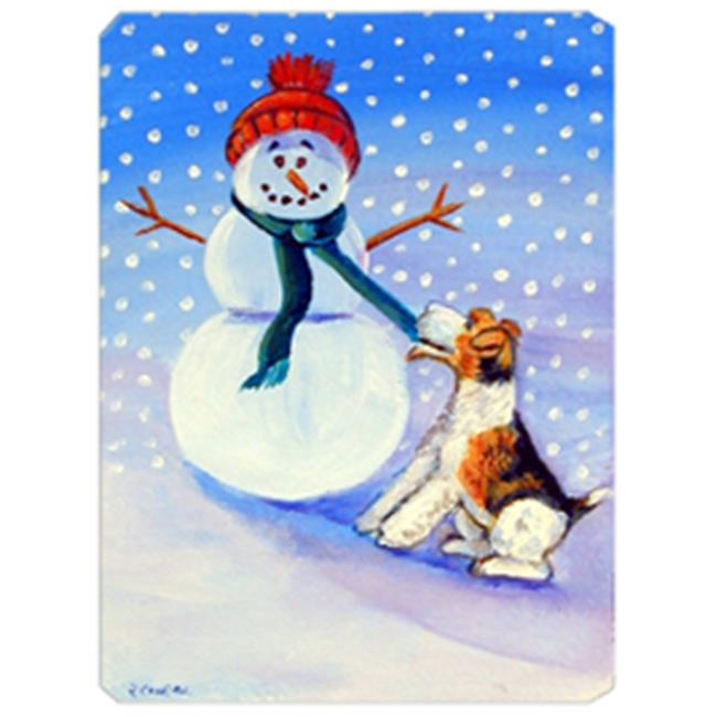 8 x 9.5 in. Snowman with Fox Terrier Mouse Pad
