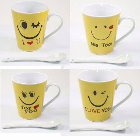 4 Pack Porcelain Yellow Emoji Coffee Mugs with Stirring Spoon Gift Set