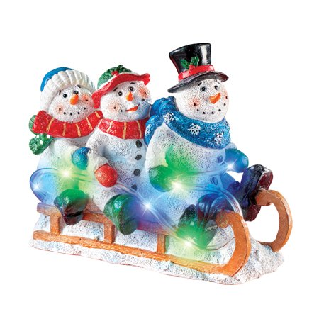 Light Up Sledding Snowmen Tabletop Winter Decoration, Indoor Charming Seasonal Accent