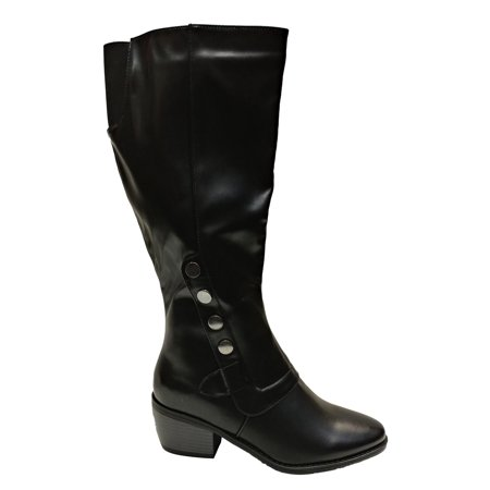 Pierre Dumas Women's Victoria 3 Black Faux Leather Knee High Riding Boot with Expandable Elastic on Calf Size: 11, Width: Medium