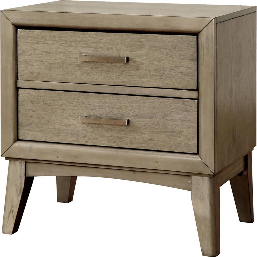 Furniture of America Alecia Modern Mid-Century-Inspired Nightstand, Gray