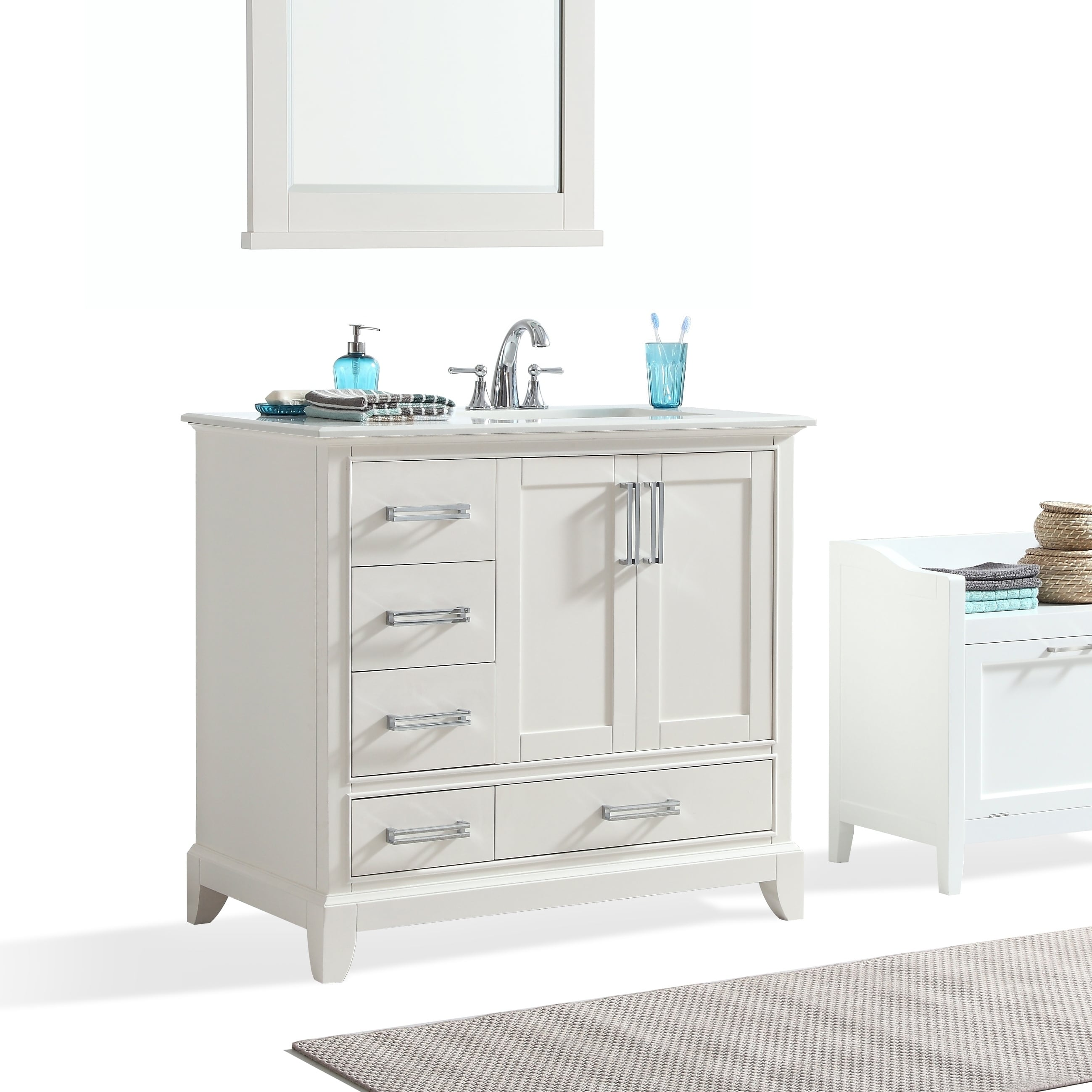 WyndenHall Atwood 36 inch Right Offset Bath Vanity in Soft ...