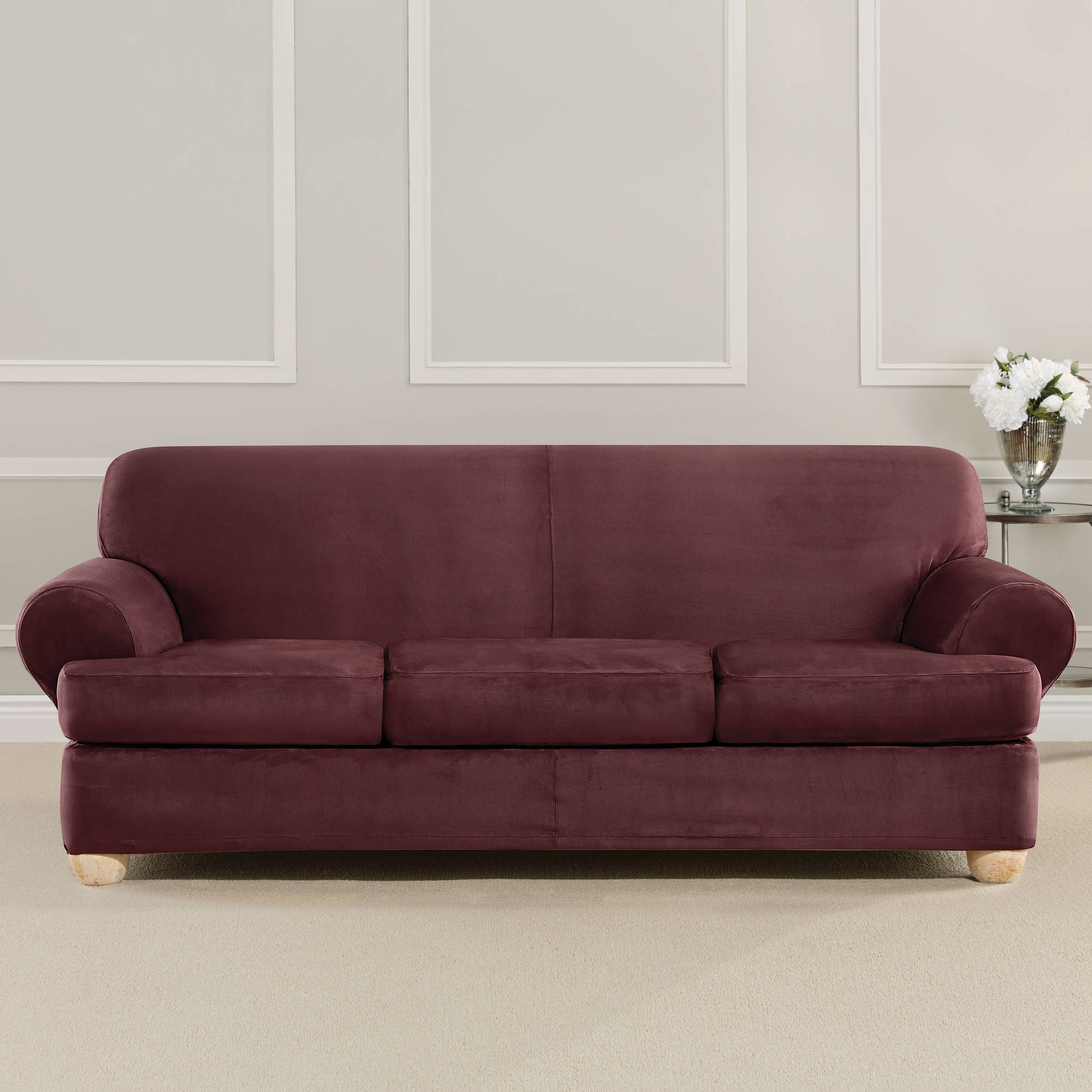 Sure Fit Ultimate Strech Suede 3 Cusion Sofa T Cushion Slipcover