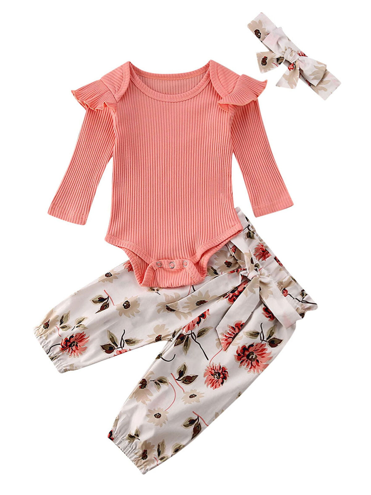 Red,3-6 Months Baby Girls Long Sleeve Red Romper Floral Trouser Headband 3 Pieces Toddler Cotton Outfits Set for 0-24 Months