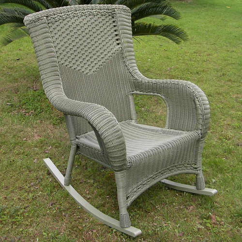 International Caravan San Tropez Wicker Resin Aluminum High Back Patio  Rocking Chair