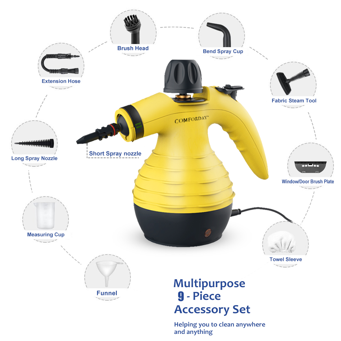 Details about  /9 Attachment Upholstery Steam Cleaner Machine Vapor Small Carpet Cleaning Engine