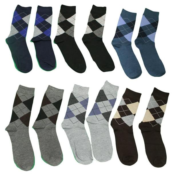 Lot of 6 Pairs Classic Men Dress Argyle Socks Assorted Colors Size 10-13