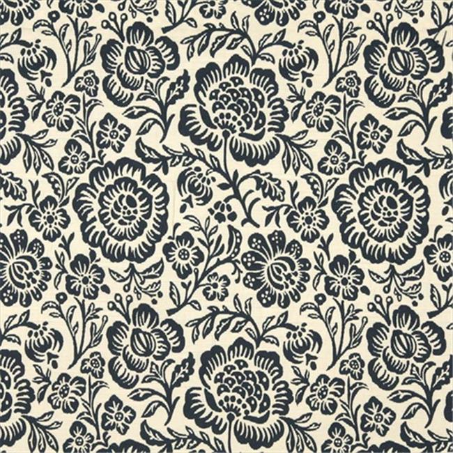 54 in. Wide Navy Blue And Beige Floral Matelasse Reversible Upholstery Fabric