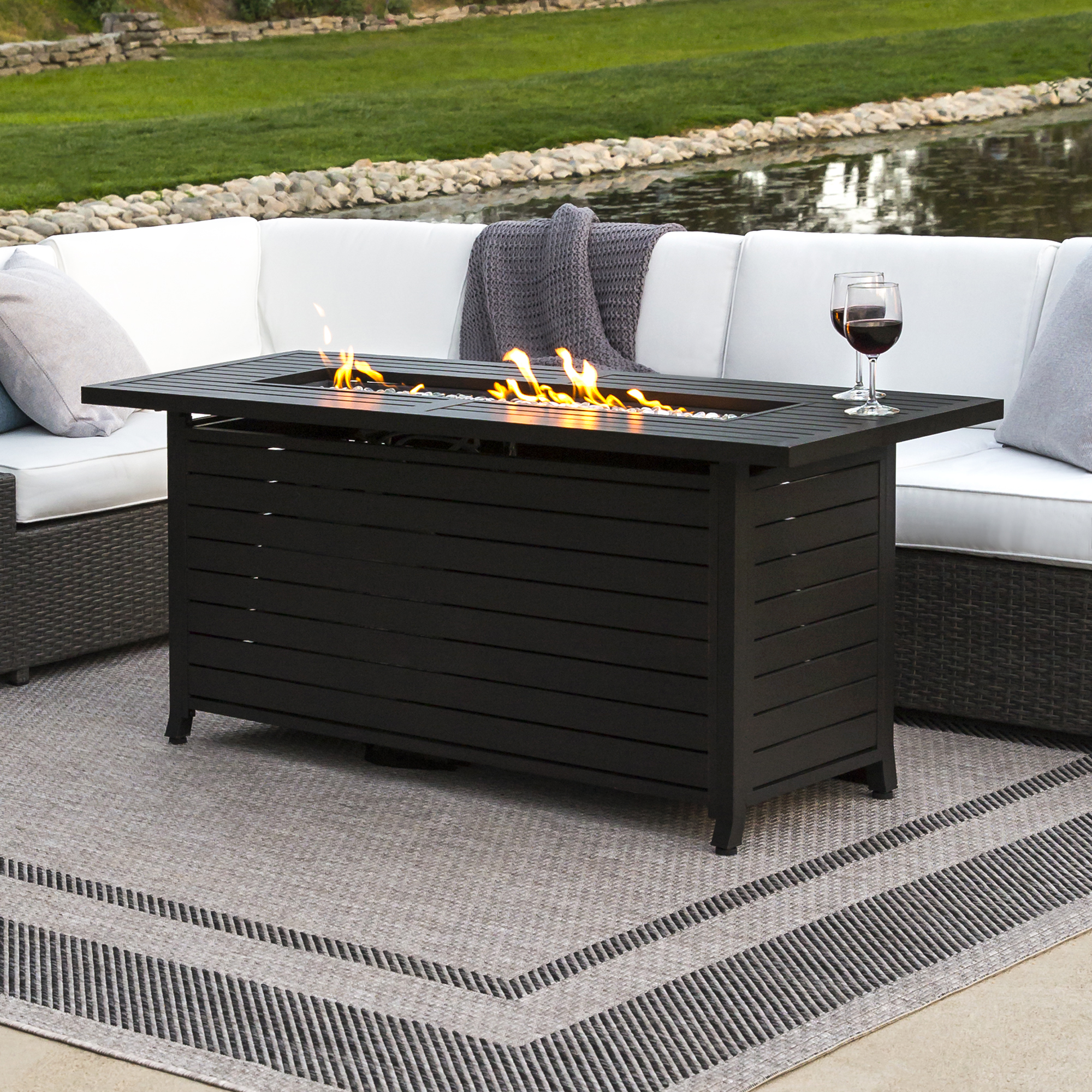 Best Choice Products 57in Rectangular Extruded Aluminum Gas Fire Pit