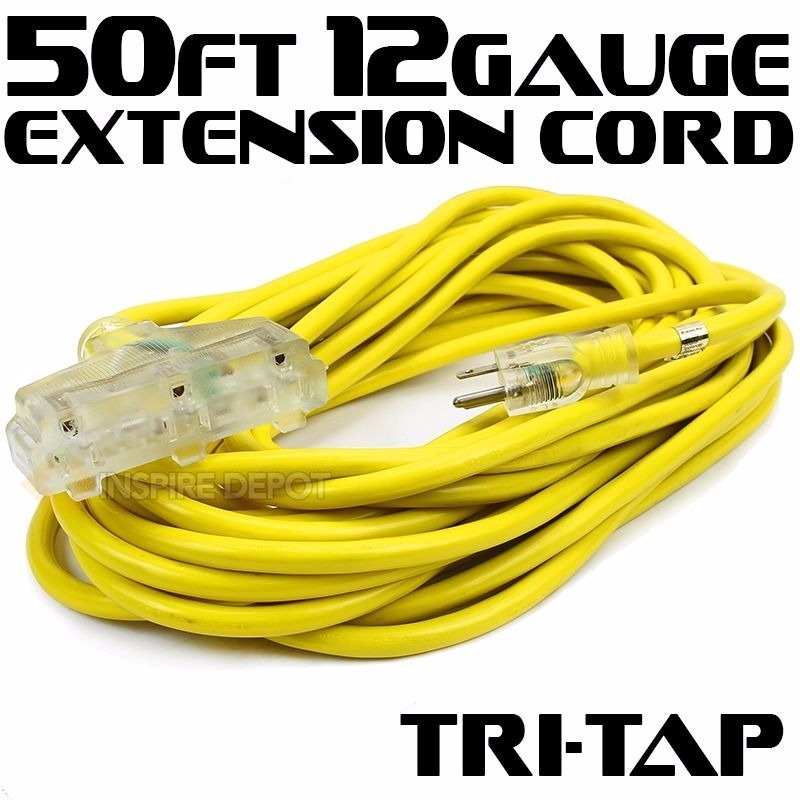 50' 12 Gauge Electric Extension Cord Tri-Tap 3 Prong Power Cable In/Outdoor UL