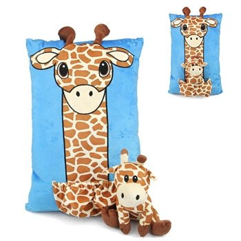 Blue Giraffe Pillow with Removable Plush Giraffe Pal by Fiesta - Pals Giraffe