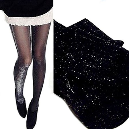 shiny pantyhose glitter stockings womens glossy tights black with