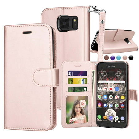 Njjex Samsung Galaxy S7 Wallet Case, Premium PU Leather Wallet Case & Wrist lanyard & Stand Cases Cover For Samsung Galaxy S7 S VII G930 GS7 All Carriers -Rose Gold